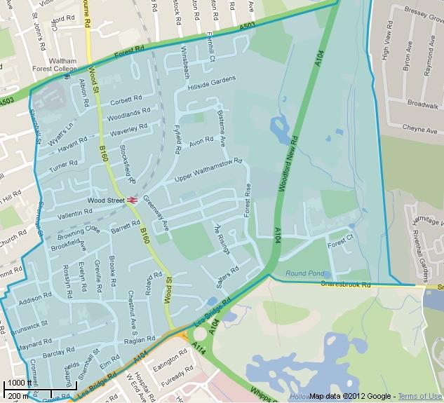 Map of Wood Street ward