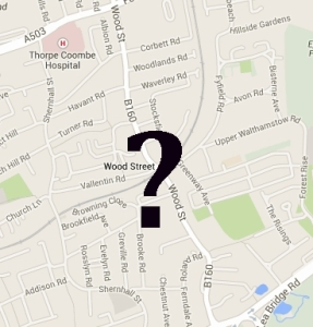 Map of Wood St with a question mark