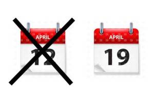 Calendar dates 12 Apr crossed out, and 19 April