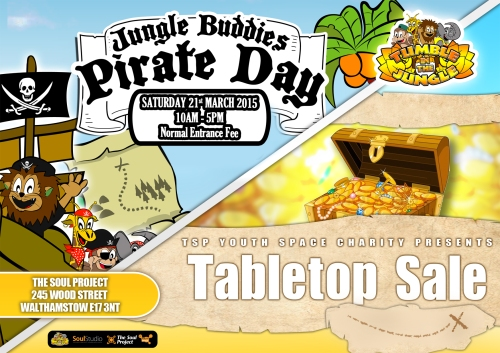 Poster for pirate day and table top sale