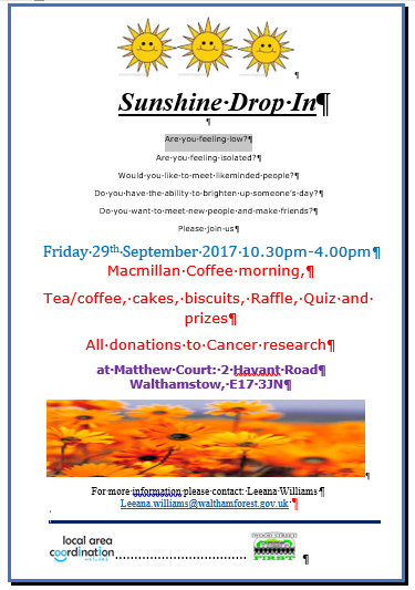 Coffee Morning 29 Sep 17