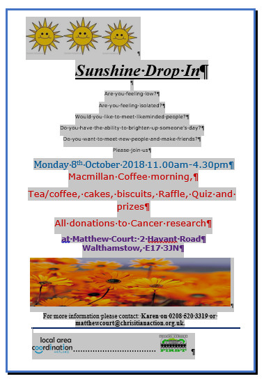 Coffee Morning 8 Oct 18